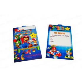 Tarjeta de Invitación Mario Party Paquete x12