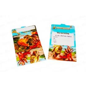 Tarjeta de Invitación Dinosaurios Paquete x12