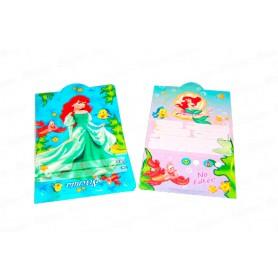 Tarjeta de Invitación Sirenita Paquete x12