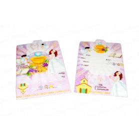 Tarjeta de Invitación Mi Primera Comunión Niña Paquete x12