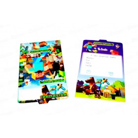 Tarjeta de Invitación Minecraft Paquete x12