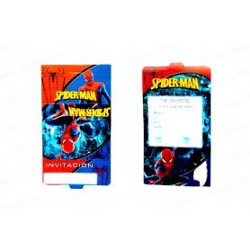 Tarjeta de Invitación Spiderman Paquete x12