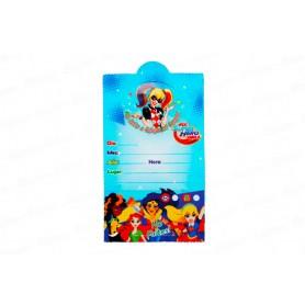Tarjeta de Invitación SuperHéroes Chicas Paquete x12