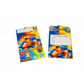 Tarjeta de Invitación Superman Paquete x12