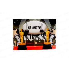 Tarjeta de Invitación Hollywood Paquete x8