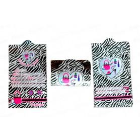 Tarjeta Invitación Animal Print Cebra Negra Paquete x12