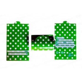 Tarjeta Invitación Polka Verde Paquete x12