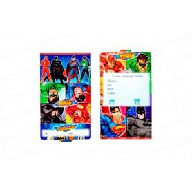 Tarjeta de Invitación Liga de la Justicia Paquete x12