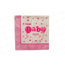 Servilleta Grande Baby Shower Niña Paquete x20
